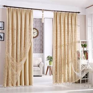 Beautiful beige blackout polyester living room curtains for Beige living room curtains