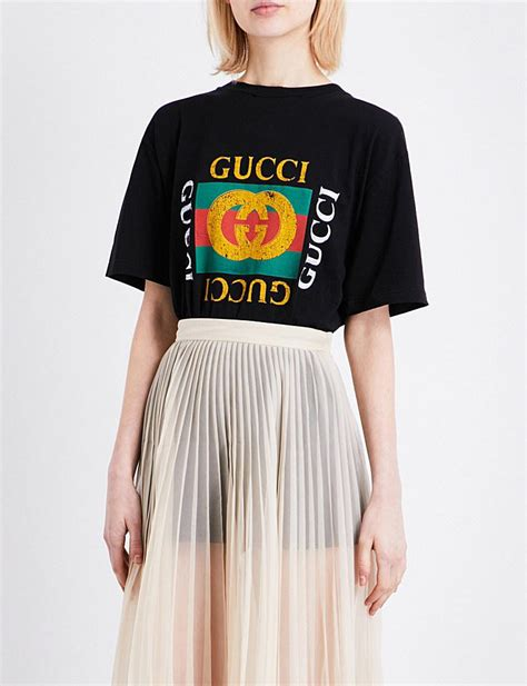 Lyst - Gucci Embroidered-logo Cotton-jersey T-shirt in Black