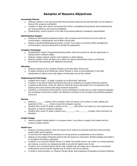Accounting Resume Objective by 9 Resume Objective Sles Exles Templates