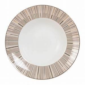 Assiette A Pates : assiette p tes en porcelaine rayures maisons du monde ~ Teatrodelosmanantiales.com Idées de Décoration