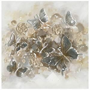 Tableau En Relief : tableau nu e de papillons 60x60 peinture or argent en ~ Melissatoandfro.com Idées de Décoration