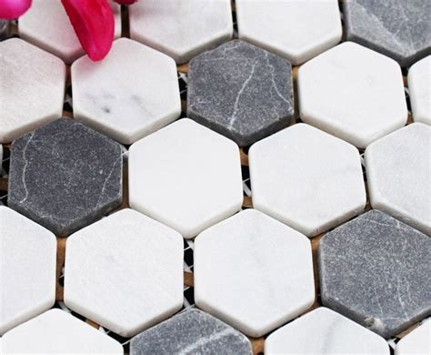 Hexagon Stone Mosaic Tiles Pattern Washroom Wall Black and