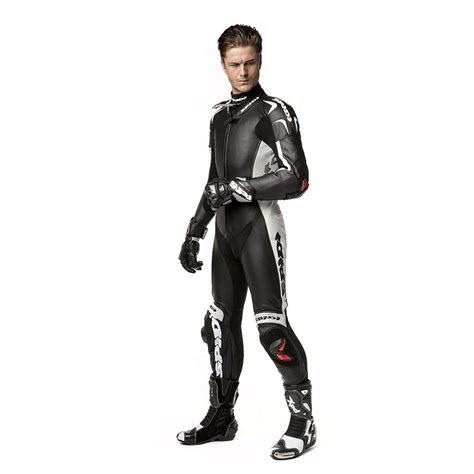 motorcycle riding leathers spidi replica piloti wind pro leather suit black white