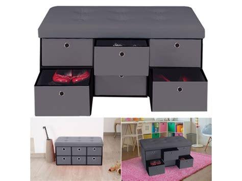 banc coffre rangement gris  tiroirs xxcm pvc