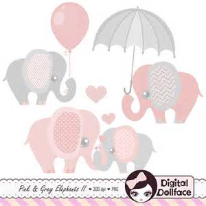 Pink and Grey Baby Elephant Clip Art