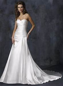 ivory simple strapless pleats stretch satin a line With simple ivory wedding dresses