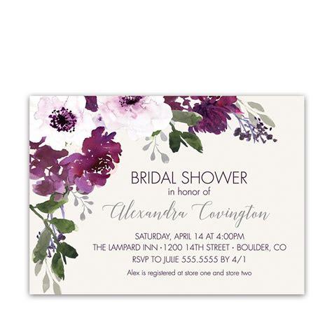 purple plum watercolor floral bridal shower invitations