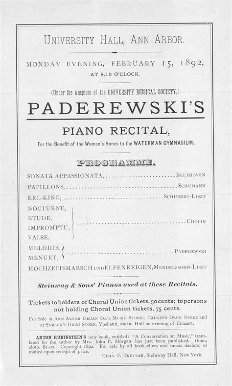 piano recital program ums concert program february 15 1892 piano recital paderewski s musical