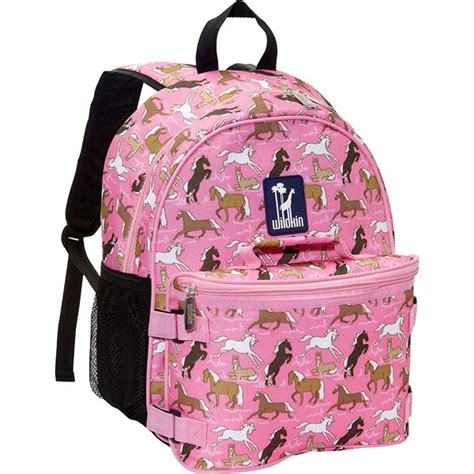 pink horses kids backpack  lunch box becky lolo