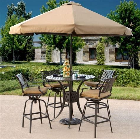 Outdoor Patio Set With Umbrella by Outdoor Brown Classic Stained Steel Bistro Set With Patio