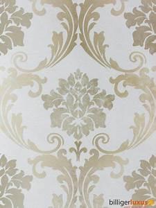 Wandfarbe Silber Glänzend : barock tapete creme silber grau metallic tapete ~ Michelbontemps.com Haus und Dekorationen