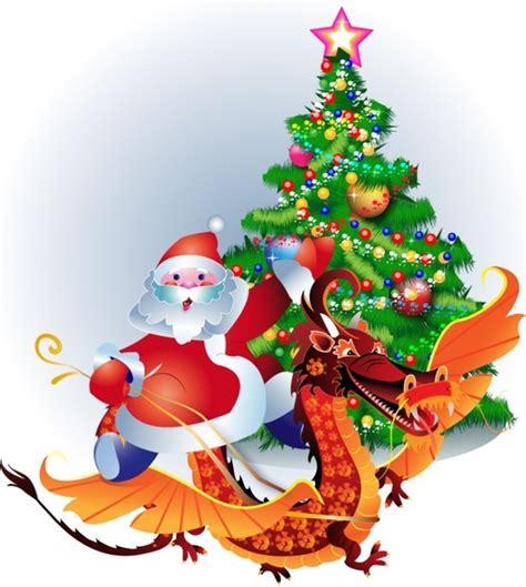 santa claus christmas tree vector free vector in