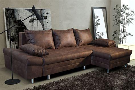 canapé cuir vieilli convertible canapé d 39 angle convertible en tissu marron vieilli ultimo