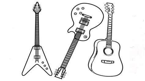 types  guitar coloring page  printable coloring pages  kids