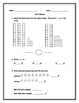 everyday math grade 1 unit 5 review by mmmcannoli tpt