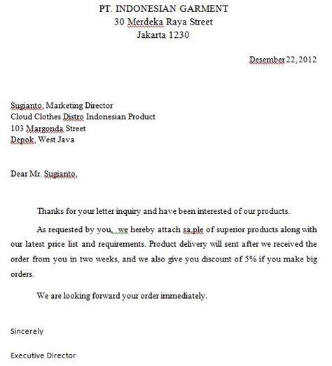 bahasa inggris bisnis 1 inquiry letter bhenny blogs