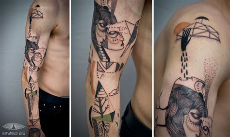 Artist Duo Creates Surreal Cubist Tattoos Based On Clients