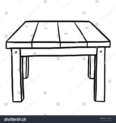 black and white table l wooden table cartoon vector illustration black stock