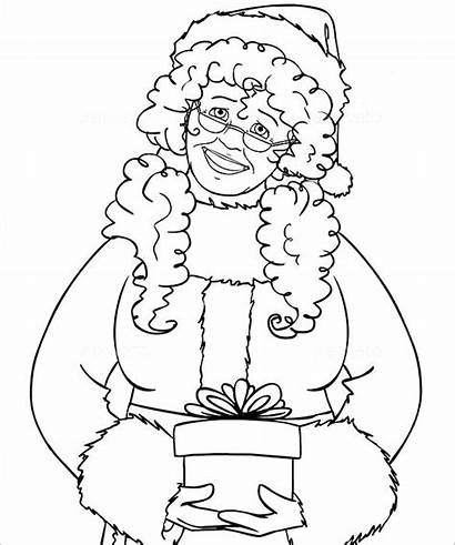Claus Mrs Coloring Pages Santa Christmas Template