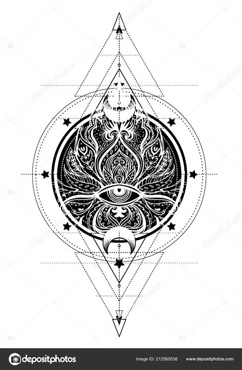 Lotus Eye Sacred Geometry Ayurveda Symbol Harmony Balance Universe Tattoo — Stock Vector