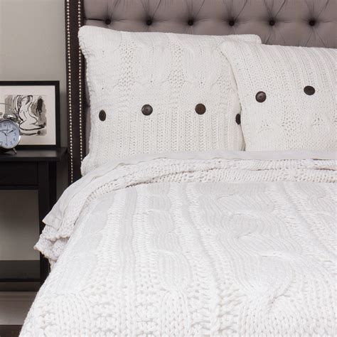 Cable Knit Coverlet by Knitted Coverlet White