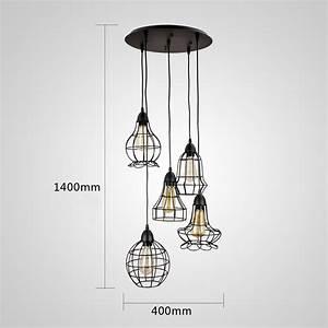 Suspension Ampoule Vintage : grande suspension ou lustre vintage 5 ampoules en cage hauteur 140cm 200 shopping mon ~ Dode.kayakingforconservation.com Idées de Décoration