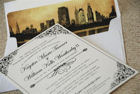 Vintage Filigree Wedding Invitation (new York City