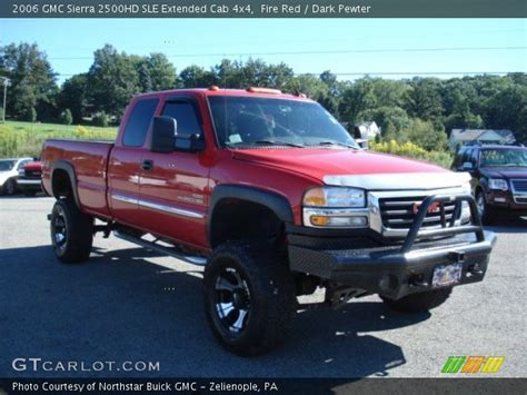fire red  gmc sierra hd sle extended cab