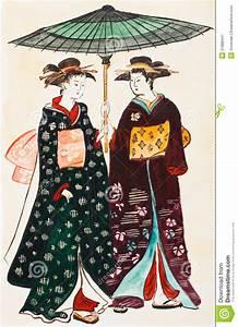 Moderne Japanische Kleidung : japanische geishas der jungen frauen in der traditionellen kleidung stock abbildung ~ Orissabook.com Haus und Dekorationen