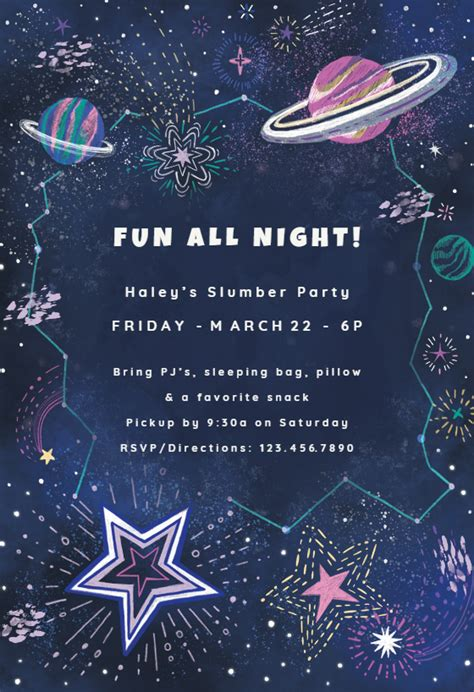 outer space sleepover party invitation template