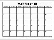 March 2018 Calendar printable calendar monthly
