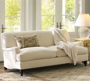 carlisle upholstered apartment sofa pottery barn With carlisle sectional pottery barn