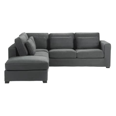 canapé d angle mistergooddeal canapé d 39 angle 5 places en coton gris ardoise