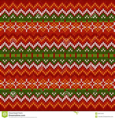 red zigzag stripes vector knit seamless pattern stock