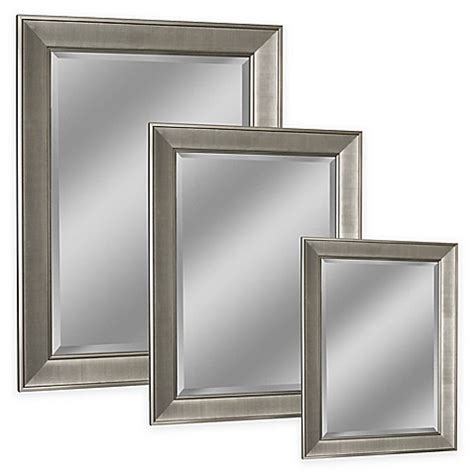 Nickel Framed Bathroom Mirror by West Pave Wall Mirror In Brushed Nickel Bed Bath