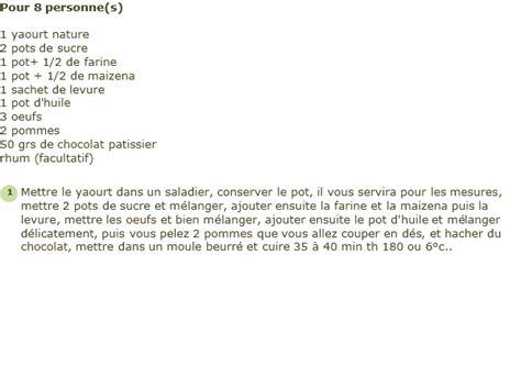 recette de cuisine gateau au yaourt recette gâteau au yaourt pommes et chocolat facile et rapide