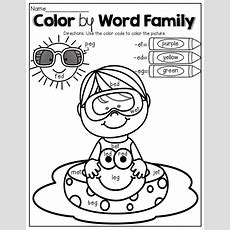 Color By Word Family No Prep (summer Edition)  Kids Work And Coloring Books