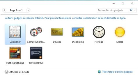 gadget de bureau comment afficher les gadgets windows 7