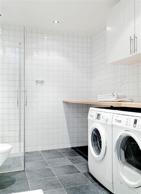 a combined laundry and bathroom chambers