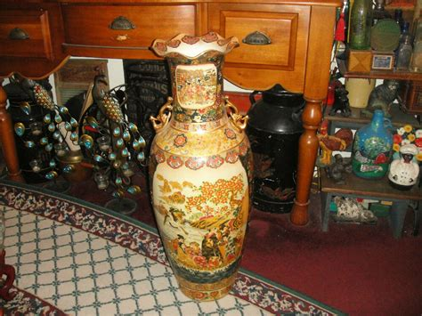 Large Floor Vases by Superb Royal Satsuma Moriage Large Floor Vase 3