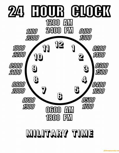 Clock Hour Military Worksheets Coloring Pages Sheets
