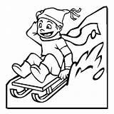 Coloring Winter Sled Pages Kid Sledding Season Drawing Colouring Slidding Happy Boy Sketch Toboggan Seasons Boys Printable Sleds Luna Getdrawings sketch template