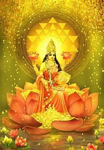 Golden Lakshmi Mixed Media by Lila Shravani