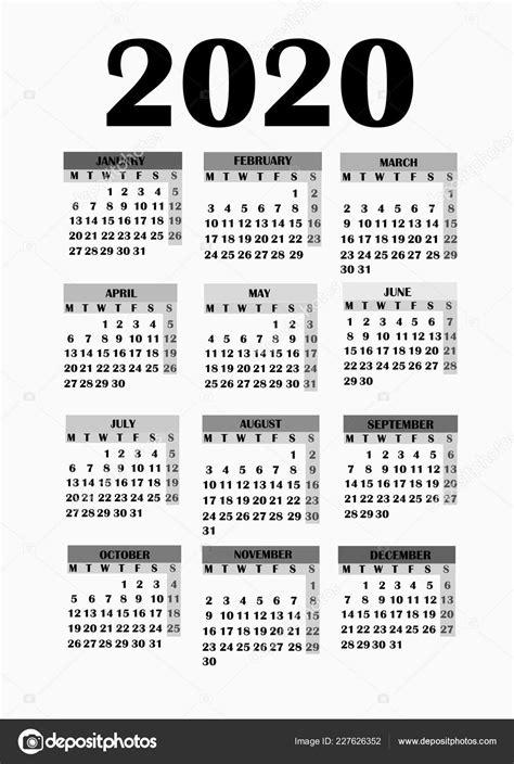 calendario 2020 da stare gratis design semplice per il calendario 2020 foto stock