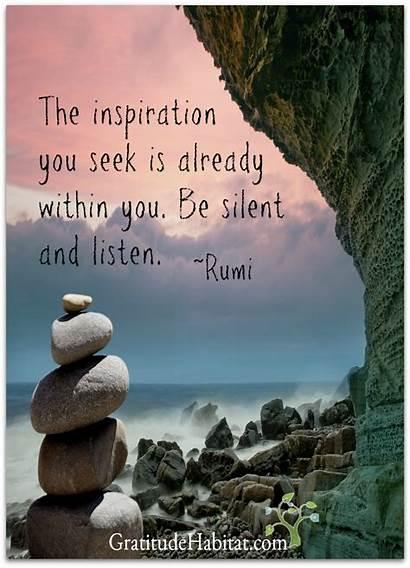 Spiritual Quotes Silent Listen Rumi Inspirational Meditation