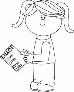 Black and White Girl with Voting Ballot Clip Art - Black ...