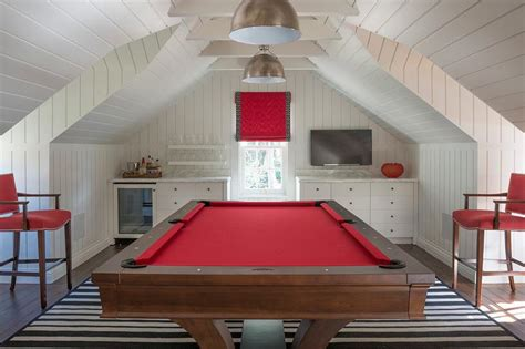 white  red game room  built  bar cottage