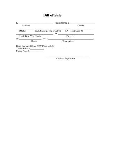 atv bill  sale form sample