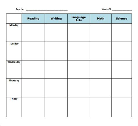 sample blank lesson plans sample templates