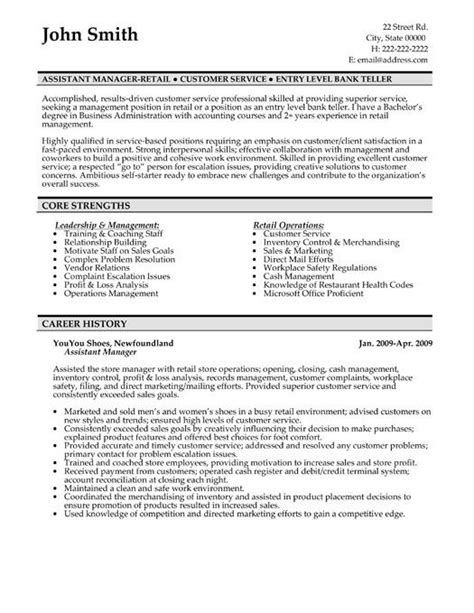 Retail Assistant Manager Resume Exles by Retail Management Resume Exles And Sles Diplomatic